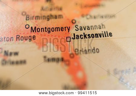 Map View Of Jacksonville On A Geographical Globe