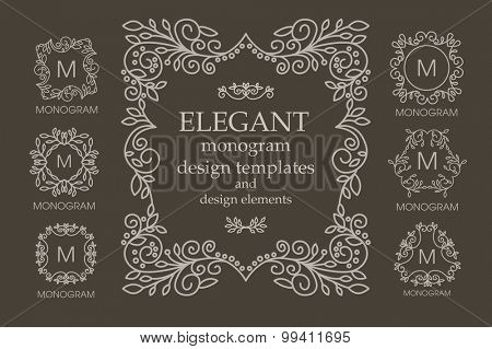 Set of frames and monogram designs with copy space for text in trendy mono line style. Business sign, identity for Restaurant, Royalty, Hotel, Heraldic, Jewelry, Fashion and other vector illustration