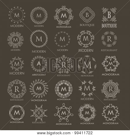 Big set of Luxury Logos templates  calligraphic elegant ornament line designs. Floral motifs. Business sign, logos, identity for Restaurant, Royalty, Boutique, Hotel, Heraldic, Jewelry, Fashion