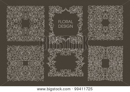 Set of Vector floral frames with copy space for text in trendy mono line style monogram design element. Floral motifs. Business sign, logos, identity for Restaurant, Royalty, Boutique, Hotel, Heraldic