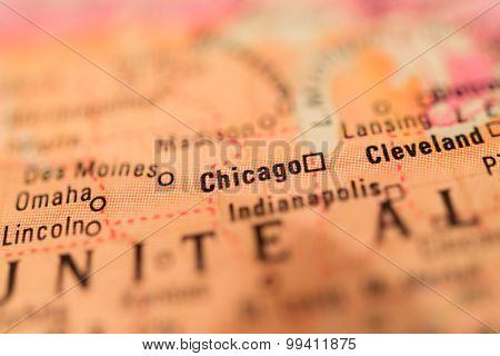 Map View Of Chicago On A Geographical Globe