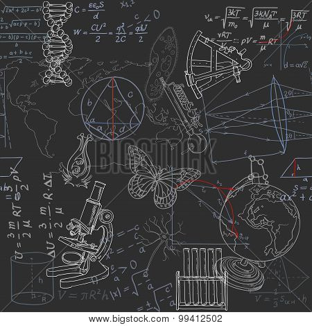 Seamless Pattern Of The Formulas And Doodles School Subjects On
