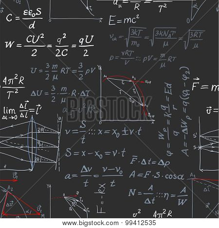 Seamless Pattern Of The Formulas On The Physics Isolated On Blac