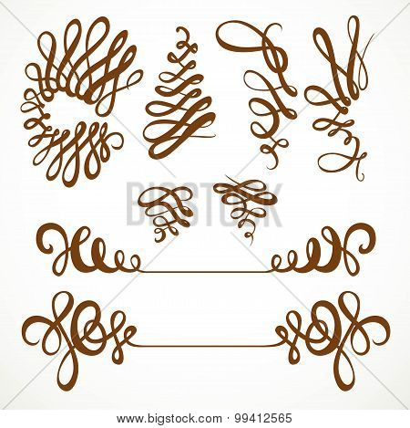 Calligraphic Vintage Elegant Curls Elements Set Isolated On A White Background