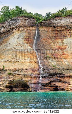 Bridal Veil Falls At Pictured Rocks