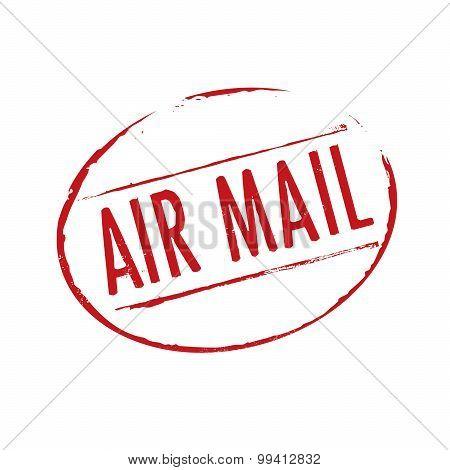 Red Grunge Stamp Air Mail
