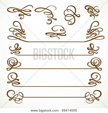 Calligraphic Vintage Elements Set For Design Isolated On A White Background