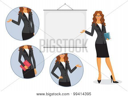 Female Teacher With Board
