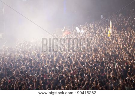 Cluj-Napoca, Romania - August 2, 2015: Crowd of people enjoy Tujamo live concert at the Untold Festival in the European Youth Capital city of Cluj Napoca