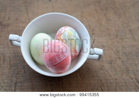 Hand Painted Ester Eggs In A Cup - Made By Me Inscription