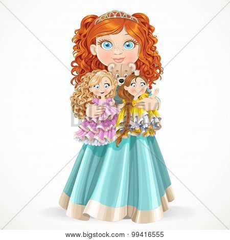 Cute Little Red-haired Princess Girl Holding In Arms Dolls Isola