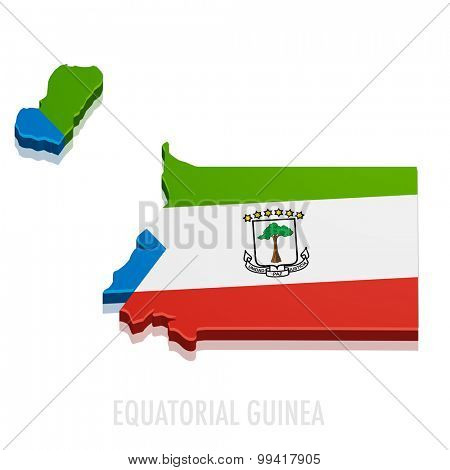 detailed illustration of a map of Equatorial Guinea with flag, eps10 vector