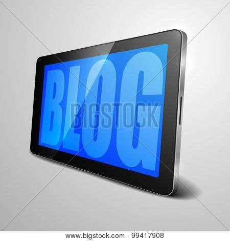 detailed illustration of a tablet computer device with Blog text, eps10 vector