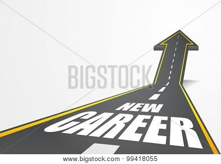 detailed illustration of a highway road going up as an arrow with New Career text, eps10 vector