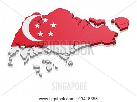detailed illustration of a map of Singapore with flag, eps10 vector