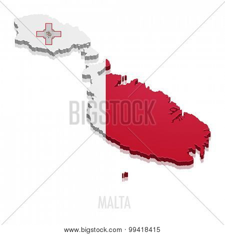 detailed illustration of a map of Malta with flag, eps10 vector