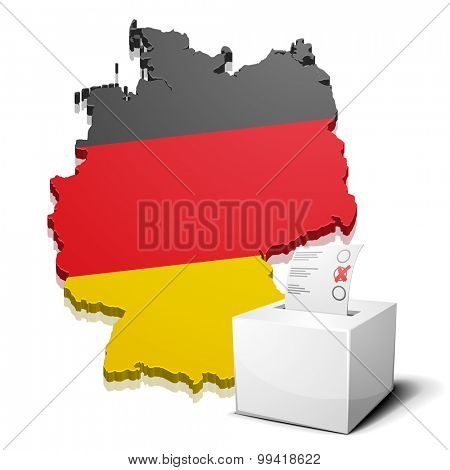 detailed illustration of a ballot box in front of a map of Germany, eps10 vector