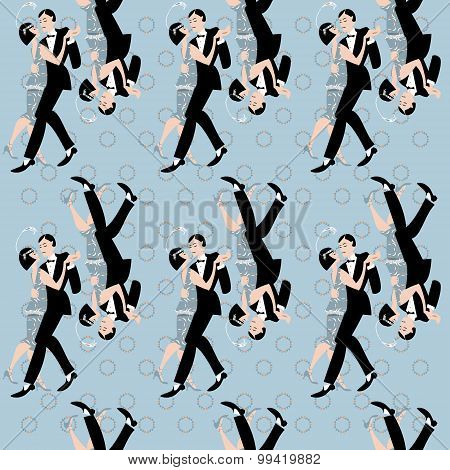 Dancing Couple. Art Deco. Retro Tango. Seamless Background Pattern.