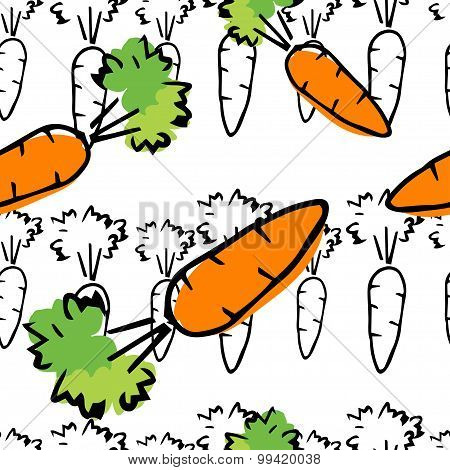 Hand Drawn Colorful Seamless Pattern With Carrot