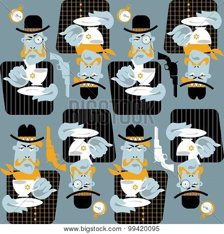 Set Of Man With Cup Of Coffee. Retro Style. Cowboy And Gentleman. Seamless Background Pattern.