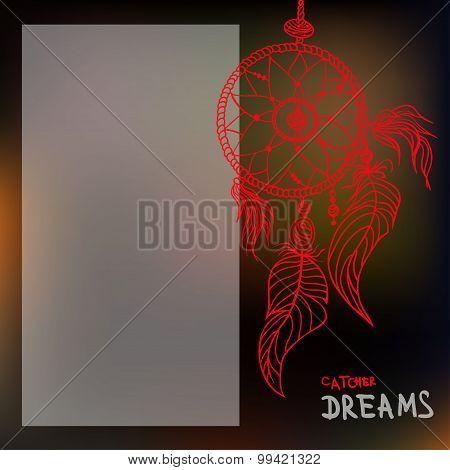 Boho Style Dreamcatcher On Blurred Background. Vector Illustration