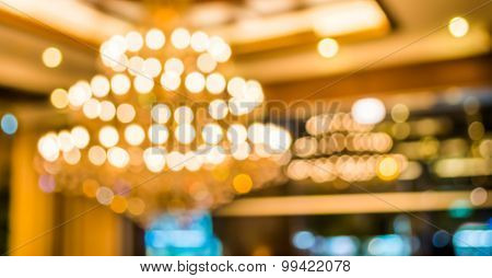 Image Of Blur Chandelier With Bokeh In Yellow Light Tone For Background Usage