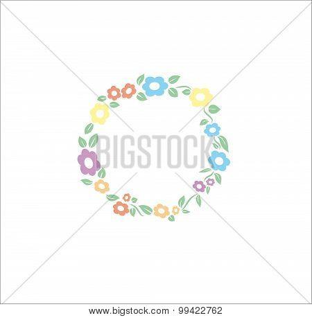 Vector flower different pastel color circle frame background