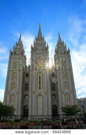 Temple Of The Church Of Jesus Christ Of Latter-day Saints With Sunburst, Salt Lake City, Utah