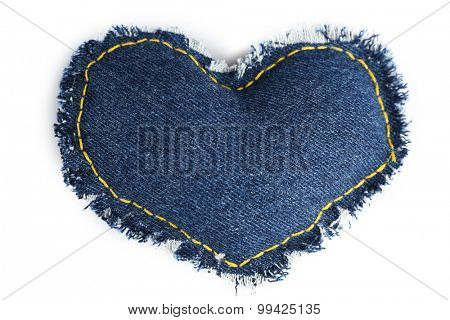 Denim heart isolated on white