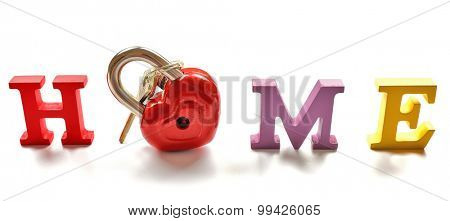Decorative letters forming word HOME with lock and keys isolated on white