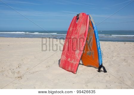 Bodyboard On The Sand