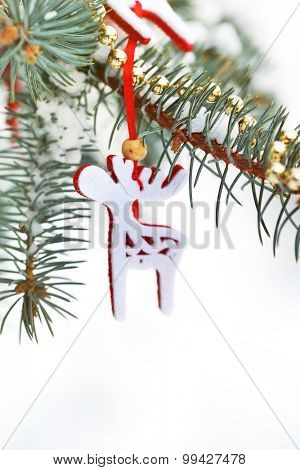 Covered with snow and Christmas decoration branch of spruce, outdoors