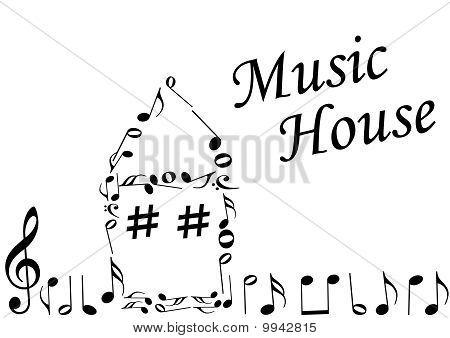 Abbildung eines abstrakten Hauses mit Music notes