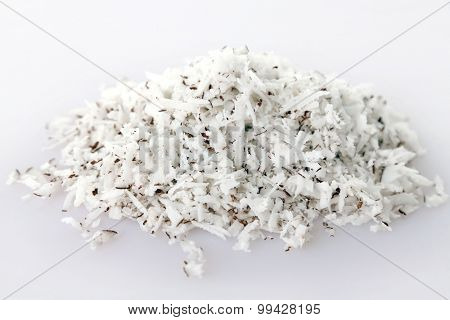 Coconut shavings isolated on white