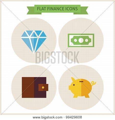Flat Finance Website Icons Set