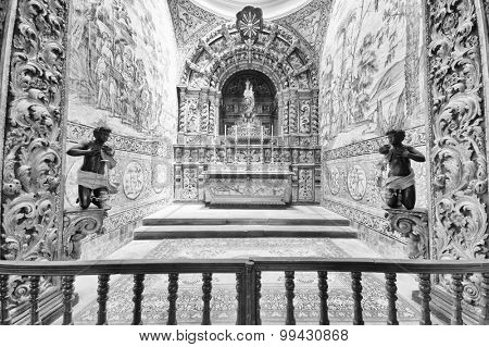 FARO, PORTUGAL - JUNE 2015: Interior architectural detail of Cathedral of Se, 15 June 2015 in Faro, Portugal, Europe