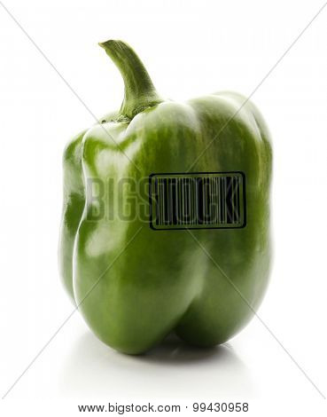 Green pepper with barcode isolated on white background