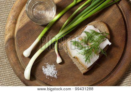 Sandwich With Salted Lard On Rye Bread And Vodka