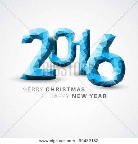 Vector Modern simple Happy new year card (2016) with low poly numbers