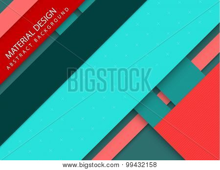 Abstract stripped background - material design style - red and teal version