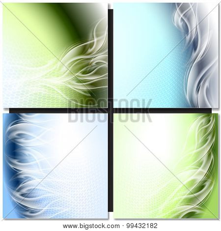 Abstract background blue green arc with white waves