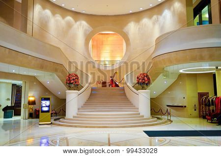 HONG KONG - MAY 31, 2015: Harbour Grand Hong Kong Hotel interior. Harbour Grand Hong Kong is a member of Harbour Plaza Hotels and Resorts