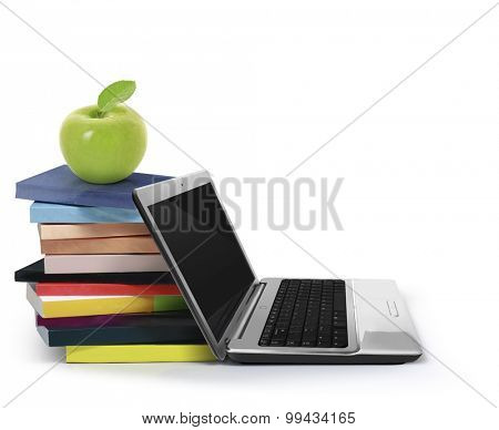 The books and a laptop