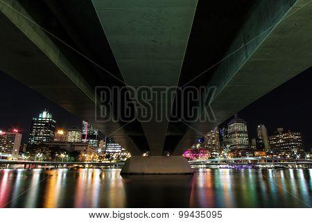 View of Brisbane City from underneath Victoria bridge