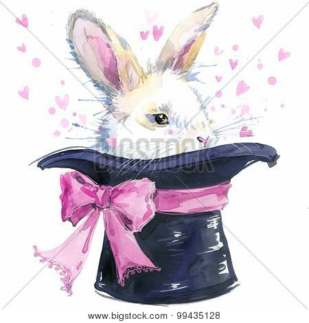 white rabbit iand hat T-shirt graphics. white rabbit illustration with splash watercolor textured ba