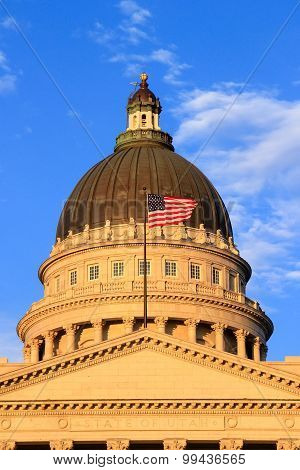 Closeup Of Utah State Capitol With Warm Evening Light, Salt Lake City