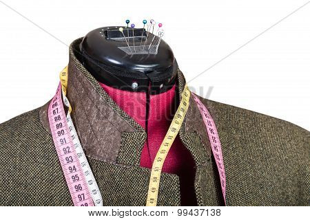 Tailoring Of Man Tweed Jacket On Dummy