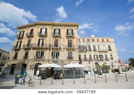 Piazza Ferrarese In The Center Of Bari, Italy