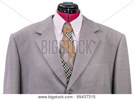Pink Woolen Jacket With Shirt And Tie Close Up