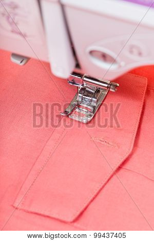 Attaching Pocket To Red Shirt On Sewing Machine